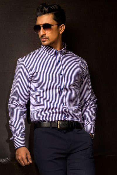 Mens Blue Stripe Business Shirt Style #B004
