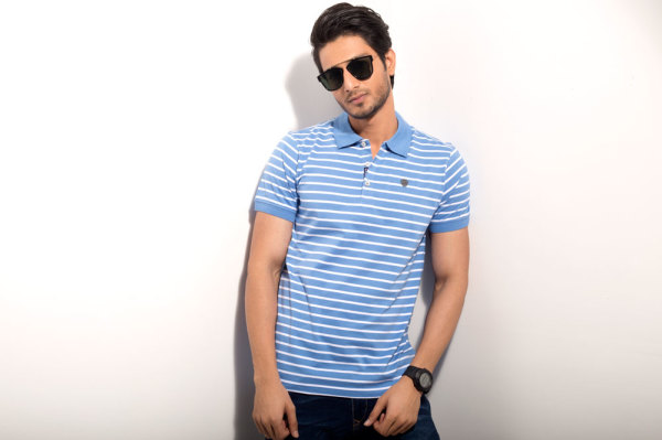 Mens Regular Fit Blue Striped Polo Tshirt Style#P005