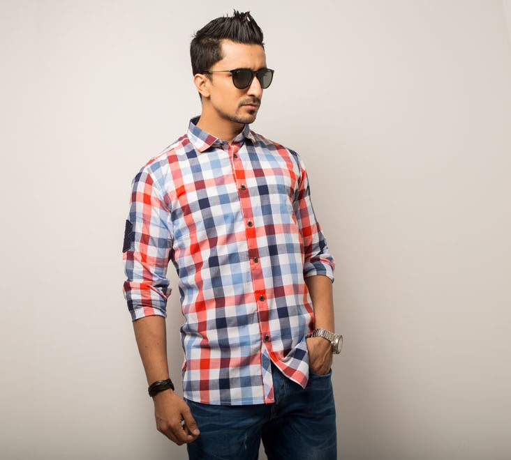 Big Check Mens Casual Shirt  Style #C004